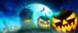 Halloween Motiv mit Kürbisen auf dem Friedhof