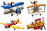 Set of pilot riding classic plane - 229093259