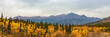 Alaska mountains landscape nature background in autumn fall season. Snow peaks banner panorama.