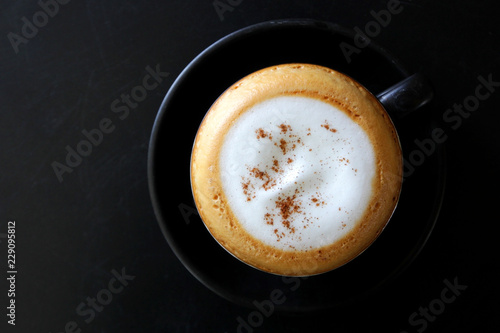 cup of hot cappuccino coffee