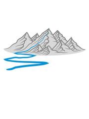 fluss wanderweg berge hügel alpen wandern urlaug ferien radtour hoch oben klettern aufsteigen besteigen erklimmen berg clipart design kalt schnee snowboard ski fahren © Style-o-Mat