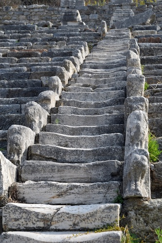 Stairs. Stairs in the future. The ancient stairs. Antique staircase in the ancient theater. Efes. İzmir. Turkey
