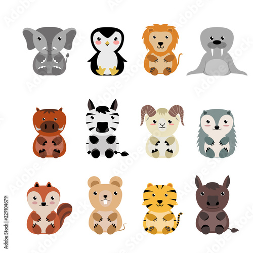 Cute animals cartoon collection.