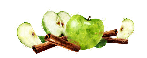 Watercolor cinnamon and green apples on white background © conceptcafe