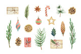 Watercolor vector Christmas set with fir branches, balls and gifts. - 229117025