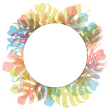Watercolor tropical palm leaf frame - 229121632