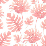 Watercolor tropical palm leaf pattern - 229121642