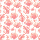 Watercolor tropical palm leaf pattern - 229121674