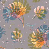 Watercolor tropical palm leaf pattern - 229121815