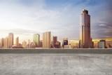 Empty rooftop floor with skyscrapers view - 229123418