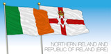 Republic of Ireland, Eire and North Ireland flags, vector illustration, Europe