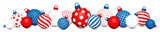 Banner Christmas Balls Pattern Red-Blue/White/Red-Blue - 229126653