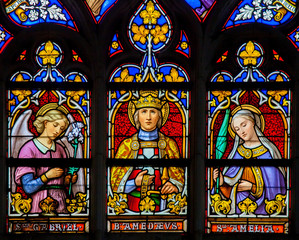 Stained Glass - Saints Gabriel, Amedeus and Amelia
