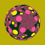 dots and curves decorated ball in pop shades