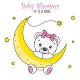 baby shower girl. Cute bear on the moon