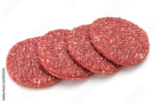 Raw fresh hamburger meat isolated on white. - 229135250