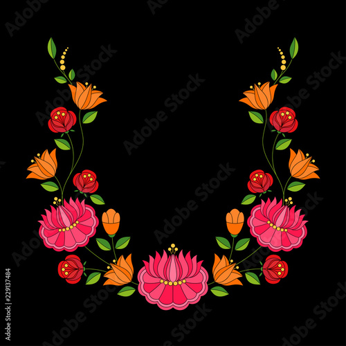 Hungarian folk pattern vector. Kalocsa floral ethnic ornament. Slavic eastern european print on black background. Vinatge flower design for women neckline embroidery and wedding wreath card. © irinelle