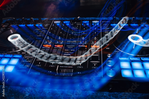 DJ controller panel on for professional music and sound mixing