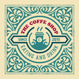 Coffee shop Label with retro vintage styled design