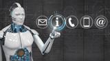 White Robot Click Contact Icons