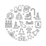 Xmas party round vector minimal linear illustration - 229146468
