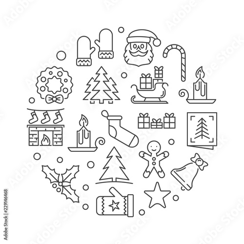 Xmas party round vector minimal linear illustration