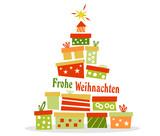 Weihnachtsbaum aus Geschenken Frohe Weihnachten weisser Hintergrund