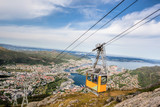 Ulriken cable railway in Bergen, Norway. Gorgeous views from the top of the hill. - 229147229