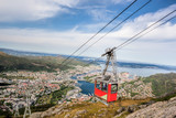 Ulriken cable railway in Bergen, Norway. Gorgeous views from the top of the hill. - 229147281