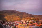 Bergen with colorful sunset in Norway, UNESCO World Heritage Site - 229147430
