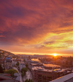 Bergen with colorful sunset in Norway, UNESCO World Heritage Site - 229147483