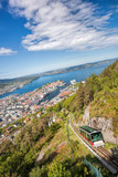 View of Bergen city with lift in Norway - 229148428