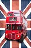Happy new year 2019 written on a London vintage red bus, Union Jack background - 229149697
