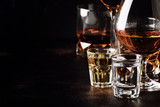 Set of strong alcoholic drinks in glasses and shot glass in assortent: vodka, rum, cognac, tequila, brandy and whiskey. Dark vintage background, selective focus - 229151600