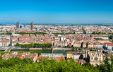 Panorama of Lyon with the Saint John Cathedral, France