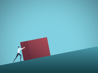 Businessman pushing cube uphill as symbol of hard work and challenge.