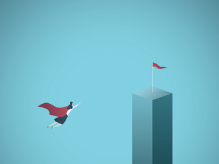 Businesswoman superhero flying toward flag vector concept. Symbol of ambition, business objectives, motivation, achievement and leadership.