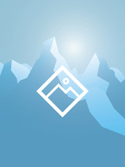 Winter snowy mountains abstract vector landscape. High peaks with snow summits. Symbol of wilderness, extreme sports, adventure and active lifestyle.