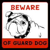 Beware of guard dog sign; vector illustration EPS10