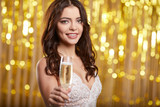 Woman in evening dress with champagne glasses - new year, celebration - 229156283