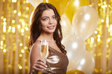 Woman in evening dress with champagne glasses - new year, celebration - 229156291