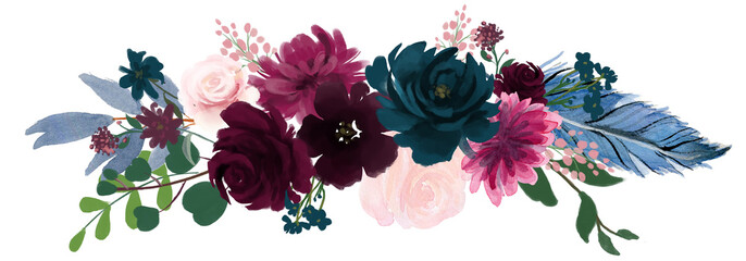 Watercolor vintage floral composition Pink and blue Floral Bouquet Flowers and Feathers Isolated © HoyaBouquet