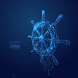 Ship Wheel. Polygonal abstract travel or business illustration. Low poly blue vector illustration of a starry sky or Cosmos. Vector image in RGB Color mode. Leadership concept