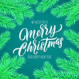 Merry Christmas calligraphy lettering greeting card. Vector New Year wish quote for winter holiday celebration in Xmas tree frame - 229169419