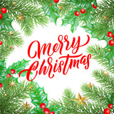 Merry Christmas calligraphy lettering and Xmas holiday decoration background design. Vector New Year greeting card of Christmas ornaments - 229169465