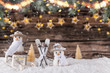 Leinwanddruck Bild - Christmas decoration on wooden background