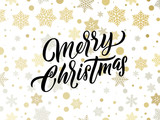 Merry Christmas golden and silver snowflakes pattern. Vector Xmas greeting card calligraphy lettering and gold confetti background - 229169602