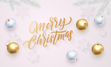 Merry Christmas golden calligraphy lettering, Xmas gold and silver balls on snowflakes pattern. Vector Xmas holiday greeting card background - 229169673