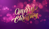 Christmas lettering and Xmas holiday sparkling flares background. Vector Merry Christmas greeting card - 229169828