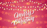 Christmas lights and sparkling light flares on Xmas holiday background. Vector Merry Christmas greeting card lettering with holiday glittery sparkles - 229169852